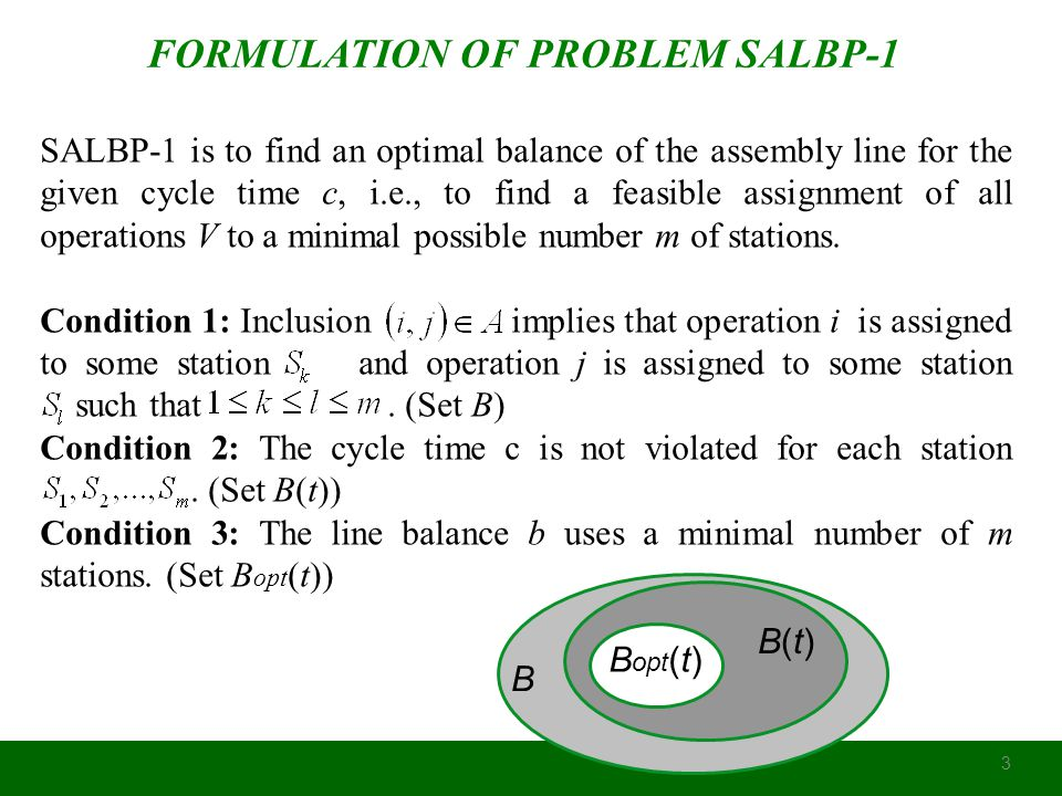 SALBP-1 is to find an optimal balance of the assembly line for the given cycle time c, i.e., to find a feasible assignment of all operations V to a minimal possible number m of stations.
