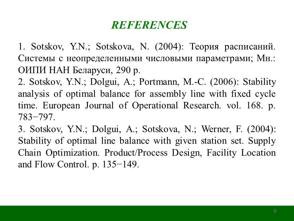9 REFERENCES 1. Sotskov, Y.N.; Sotskova, N. (2004): Теория расписаний. Системы с неопределенными числовыми параметрами; Мн.: ОИПИ НАН Беларуси, 290 p.
