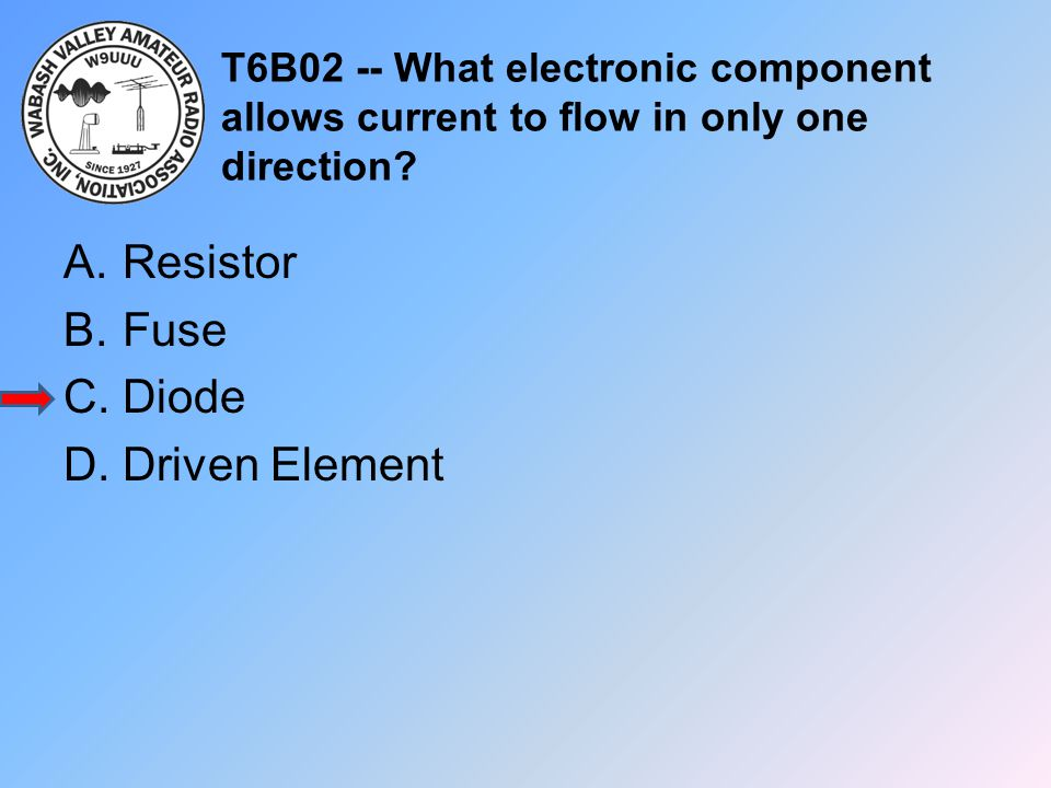 T6B02 -- What electronic component allows current to flow in only one direction? A.Resistor B.Fuse C.Diode D.Driven Element