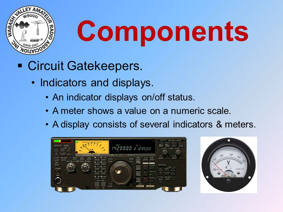 Components  Circuit Gatekeepers. Indicators and displays. An indicator displays on/off status. A meter shows a value on a numeric scale. A display co
