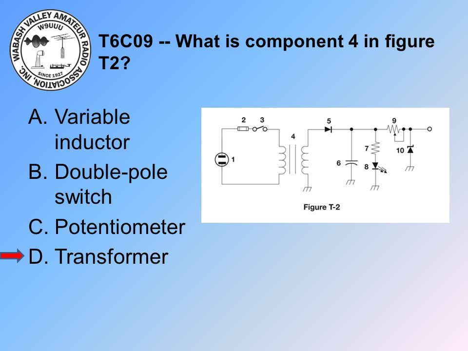 T6C09 -- What is component 4 in figure T2? A.Variable inductor B.Double-pole switch C.Potentiometer D.Transformer