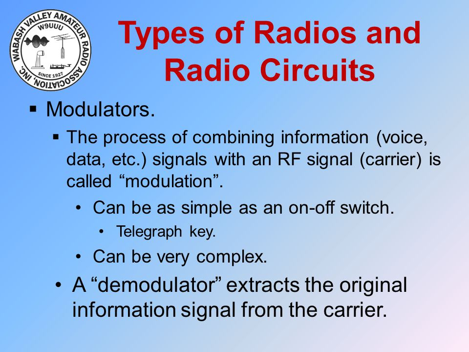 Types of Radios and Radio Circuits  Modulators.  The process of combining information (voice, data, etc.) signals with an RF signal (carrier) is cal