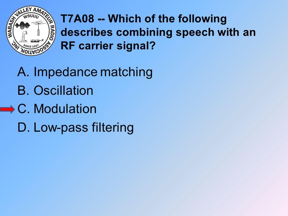 T7A08 -- Which of the following describes combining speech with an RF carrier signal? A.Impedance matching B.Oscillation C.Modulation D.Low-pass filte