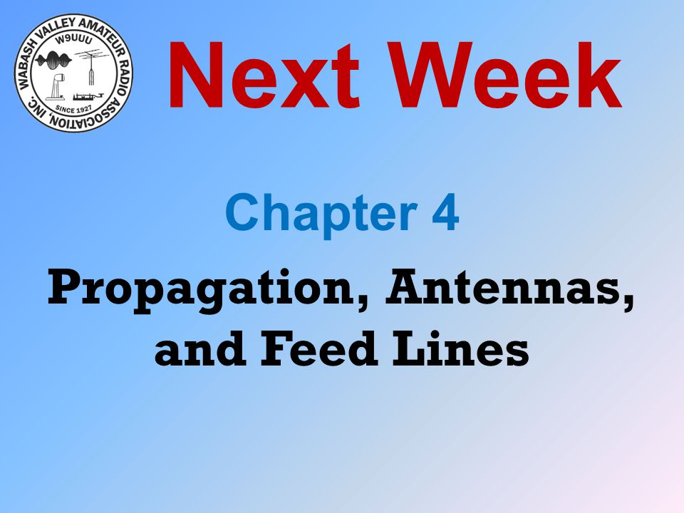 Next Week Chapter 4 Propagation, Antennas, and Feed Lines