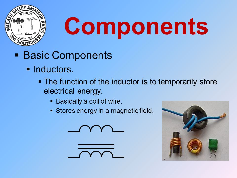 Components  Basic Components  Inductors.  The function of the inductor is to temporarily store electrical energy.  Basically a coil of wire.  Sto