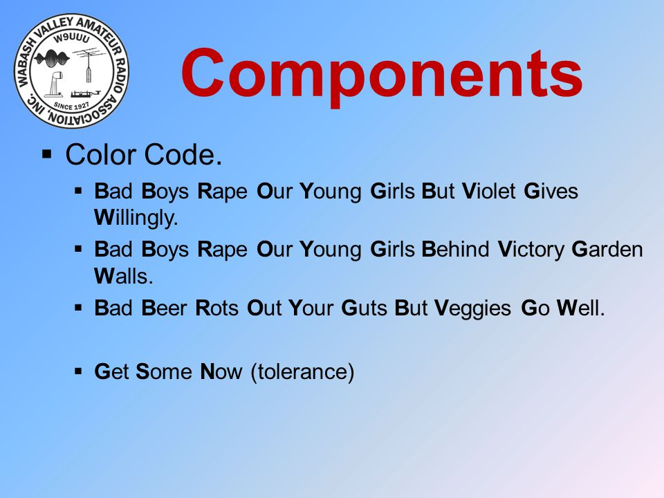 Components  Color Code.  Bad Boys Rape Our Young Girls But Violet Gives Willingly.  Bad Boys Rape Our Young Girls Behind Victory Garden Walls.  Ba