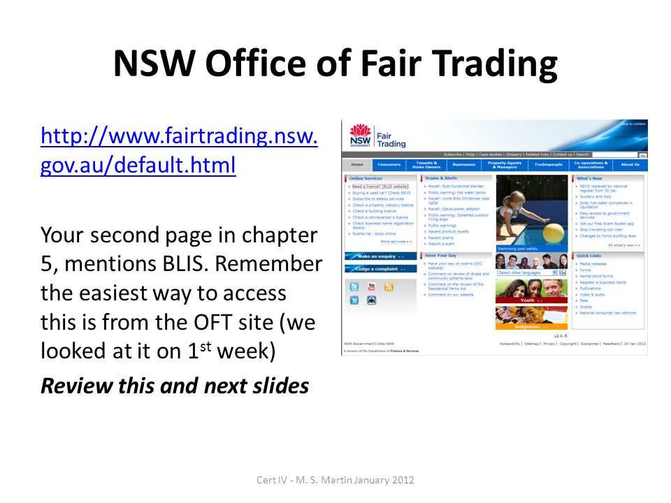 NSW BLIS - Business Licencing Information Service http://blis.fairtrading.nsw.