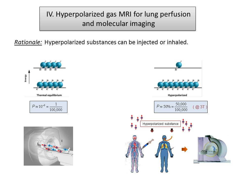 ( @ 3T ) Hyperpolarized substance IV. Hyperpolarized gas MRI for lung perfusion and molecular imaging Rationale: Hyperpolarized substances can be inje