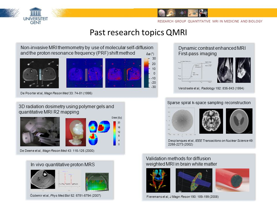 Past research topics QMRI Non-invasive MRI thermometry by use of molecular self-diffusion and the proton resonance frequency (PRF) shift method De Poo