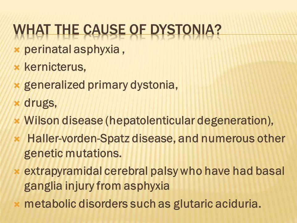  perinatal asphyxia,  kernicterus,  generalized primary dystonia,  drugs,  Wilson disease (hepatolenticular degeneration),  Haller-vorden-Spatz disease, and numerous other genetic mutations.