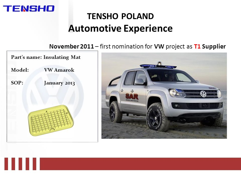 TENSHO POLAND Automotive Experience November 2011 – first nomination for VW project as T1 Supplier Part's name: Insulating Mat Model:VW Amarok SOP:January 2013