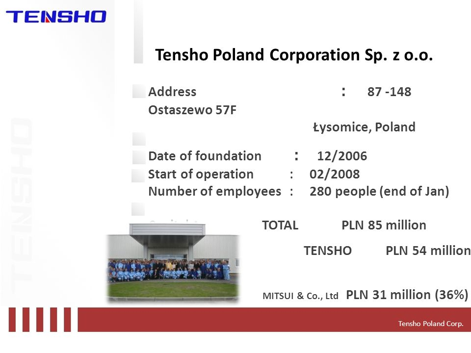 Tensho Poland Corporation Sp. z o.o.
