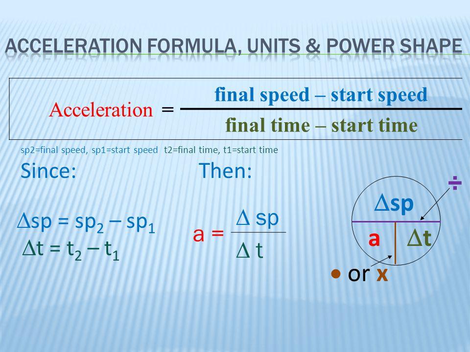 Acceleration= final speed – start speed final time – start time  or x a tt  sp ÷  sp = sp 2 – sp 1  t = t 2 – t 1 sp2=final speed, sp1=start spe