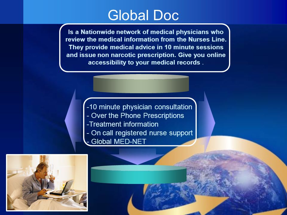 Global Doc Is a Nationwide network of medical physicians who review the medical information from the Nurses Line.