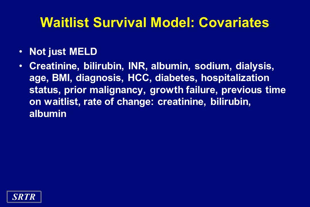 SRTR Waitlist Survival Model: Covariates Not just MELD Creatinine, bilirubin, INR, albumin, sodium, dialysis, age, BMI, diagnosis, HCC, diabetes, hospitalization status, prior malignancy, growth failure, previous time on waitlist, rate of change: creatinine, bilirubin, albumin