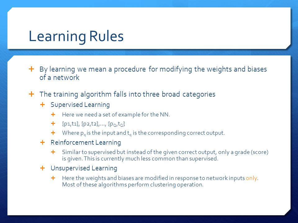 Learning Rules  By learning we mean a procedure for modifying the weights and biases of a network  The training algorithm falls into three broad cat