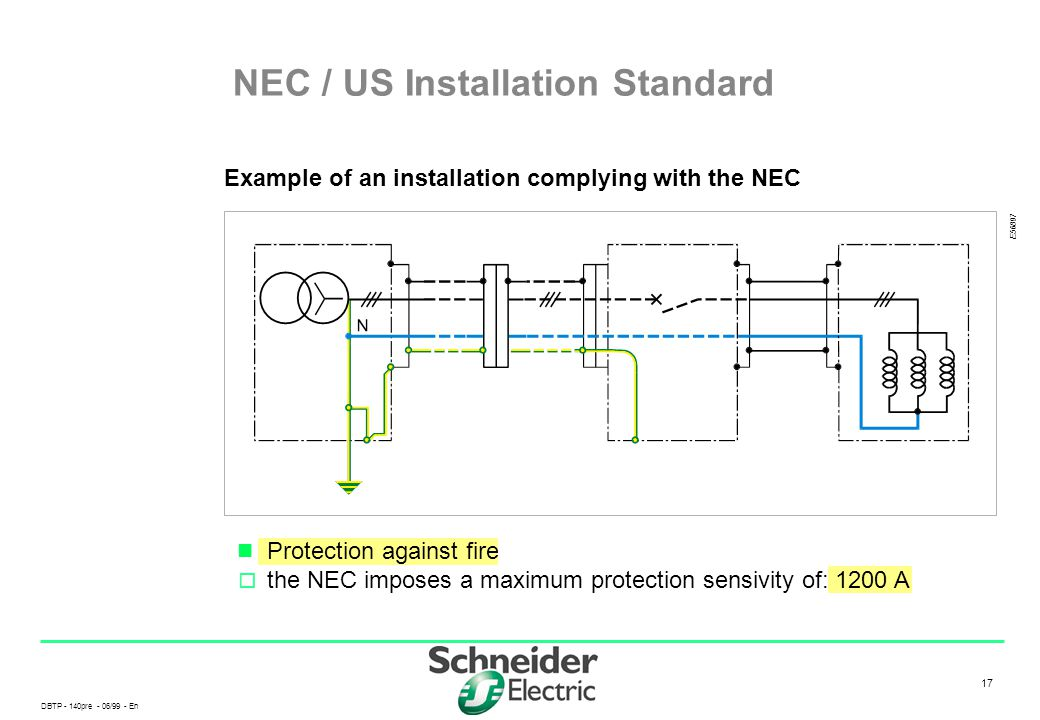 DBTP - 140pre - 06/99 - En 17 Protection against fire  the NEC imposes a maximum protection sensivity of: 1200 A NEC / US Installation Standard Examp