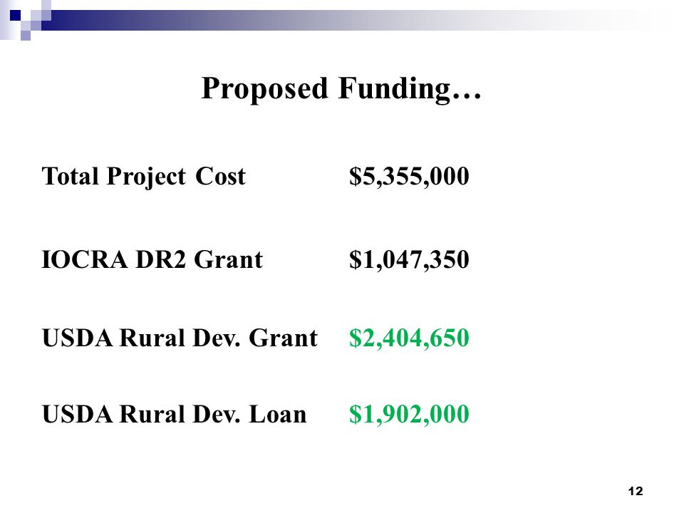12 Proposed Funding… Total Project Cost$5,355,000 IOCRA DR2 Grant$1,047,350 USDA Rural Dev.
