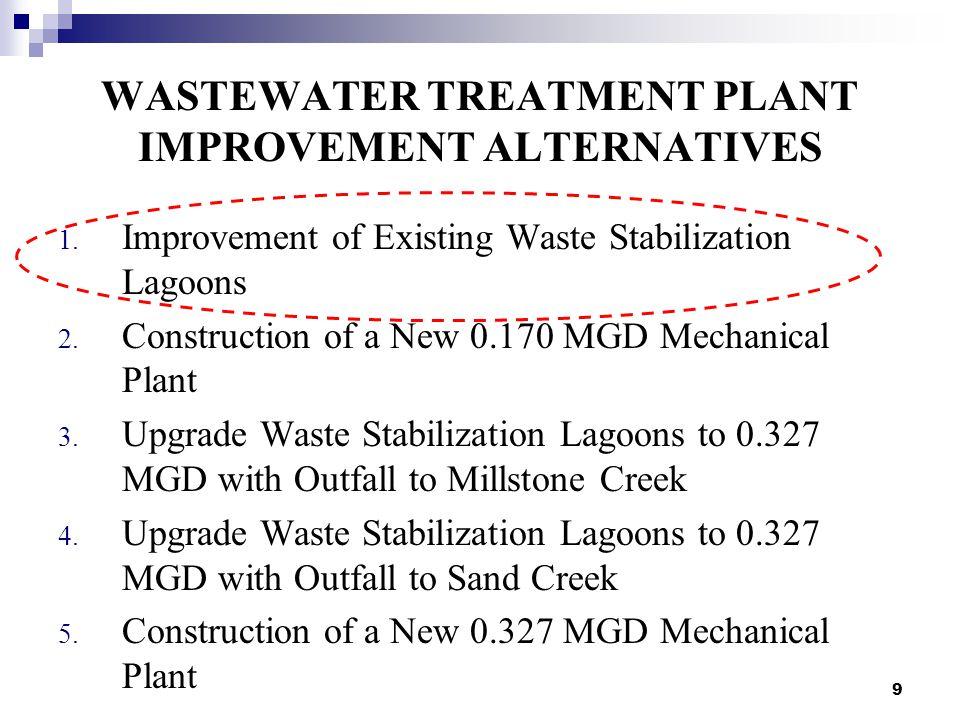 9 WASTEWATER TREATMENT PLANT IMPROVEMENT ALTERNATIVES 1.