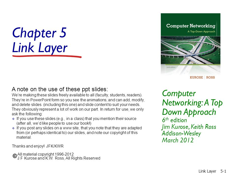 Chapter 5 Link Layer Computer Networking: A Top Down Approach 6 th edition Jim Kurose, Keith Ross Addison-Wesley March 2012 A note on the use of these