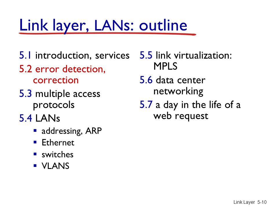 Link Layer 5-10 Link layer, LAN s: outline 5.1 introduction, services 5.2 error detection, correction 5.3 multiple access protocols 5.4 LANs  address