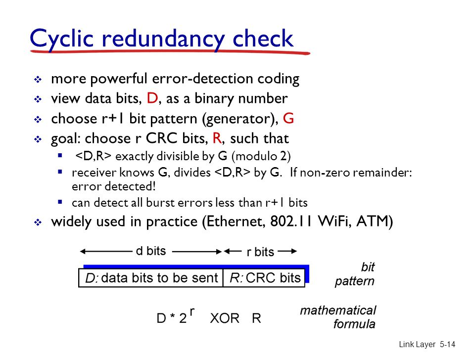 Link Layer 5-14 Cyclic redundancy check  more powerful error-detection coding  view data bits, D, as a binary number  choose r+1 bit pattern (gener