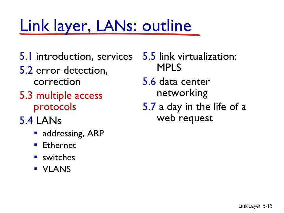 Link Layer 5-16 Link layer, LAN s: outline 5.1 introduction, services 5.2 error detection, correction 5.3 multiple access protocols 5.4 LANs  address