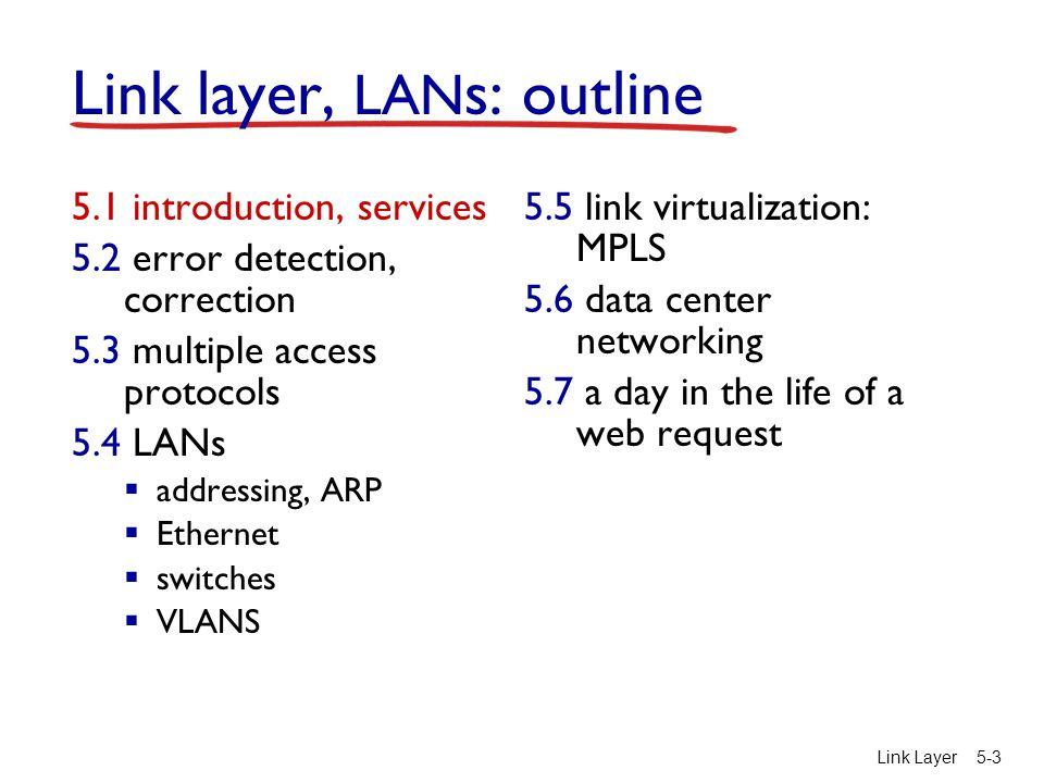 Link Layer 5-3 Link layer, LAN s: outline 5.1 introduction, services 5.2 error detection, correction 5.3 multiple access protocols 5.4 LANs  addressi