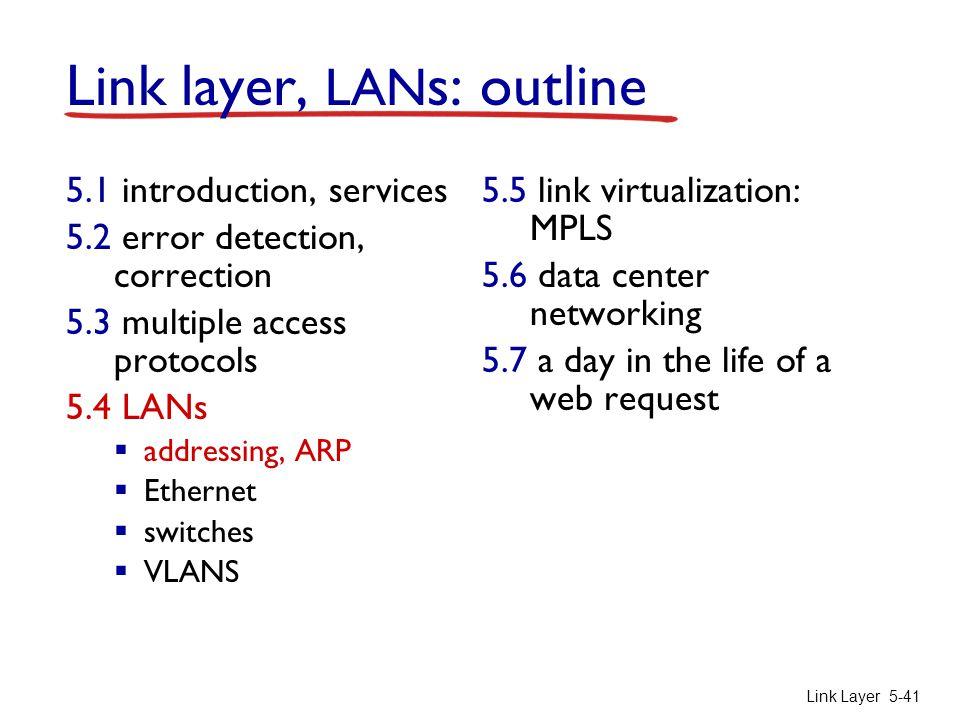 Link Layer 5-41 Link layer, LAN s: outline 5.1 introduction, services 5.2 error detection, correction 5.3 multiple access protocols 5.4 LANs  address