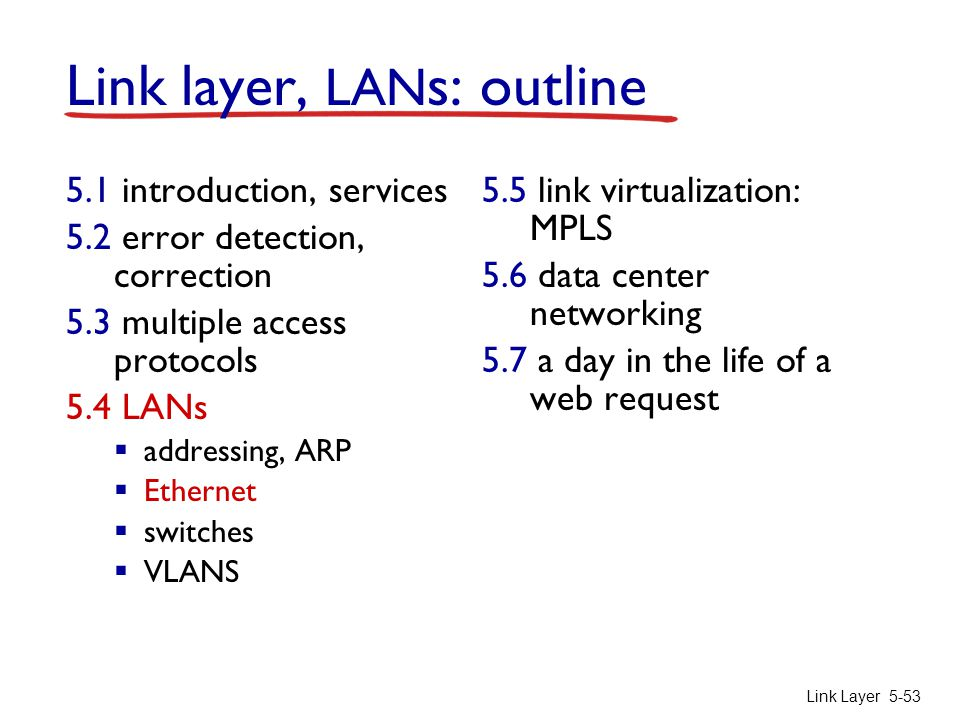 Link Layer 5-53 Link layer, LAN s: outline 5.1 introduction, services 5.2 error detection, correction 5.3 multiple access protocols 5.4 LANs  address