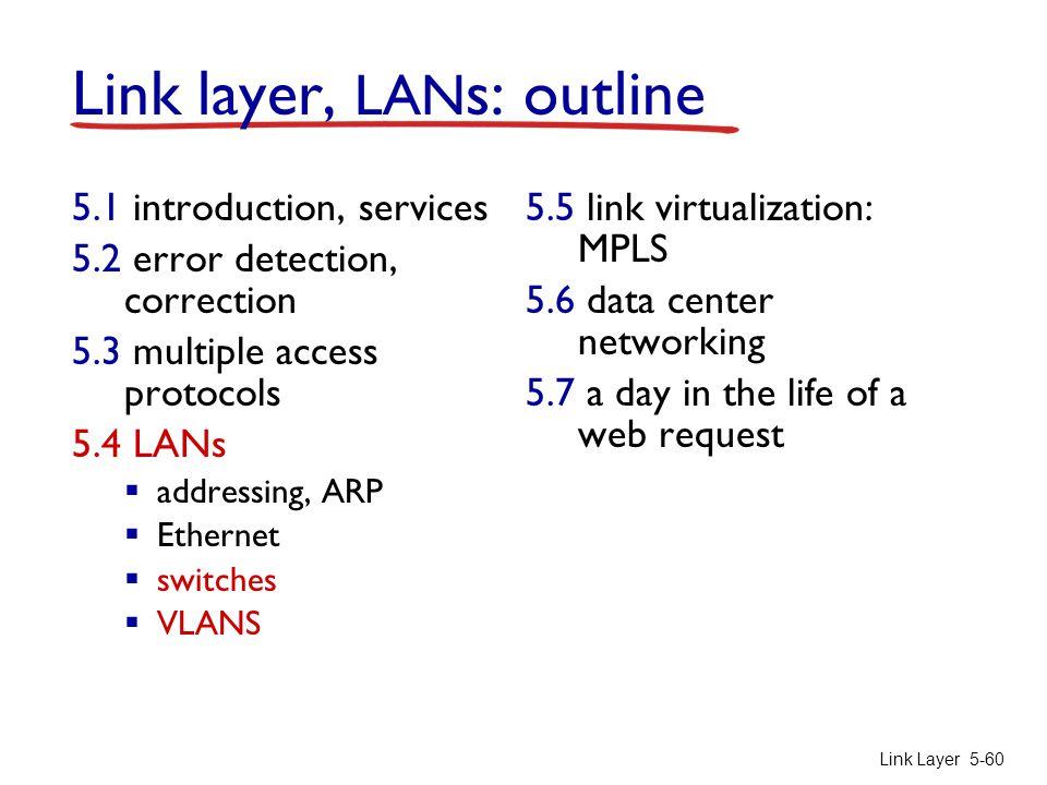 Link Layer 5-60 Link layer, LAN s: outline 5.1 introduction, services 5.2 error detection, correction 5.3 multiple access protocols 5.4 LANs  address