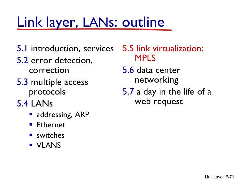 Link Layer 5-76 Link layer, LAN s: outline 5.1 introduction, services 5.2 error detection, correction 5.3 multiple access protocols 5.4 LANs  address