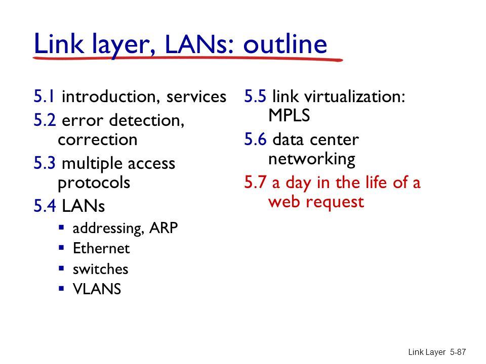 Link Layer 5-87 Link layer, LAN s: outline 5.1 introduction, services 5.2 error detection, correction 5.3 multiple access protocols 5.4 LANs  address