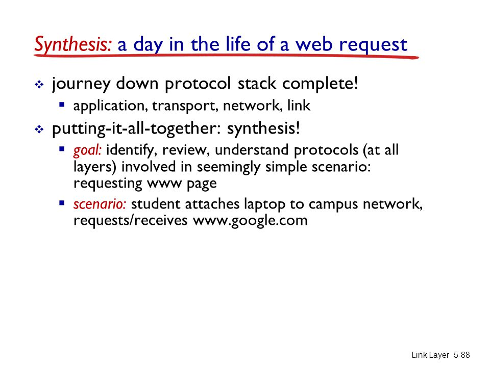 Link Layer 5-88 Synthesis: a day in the life of a web request  journey down protocol stack complete!  application, transport, network, link  puttin