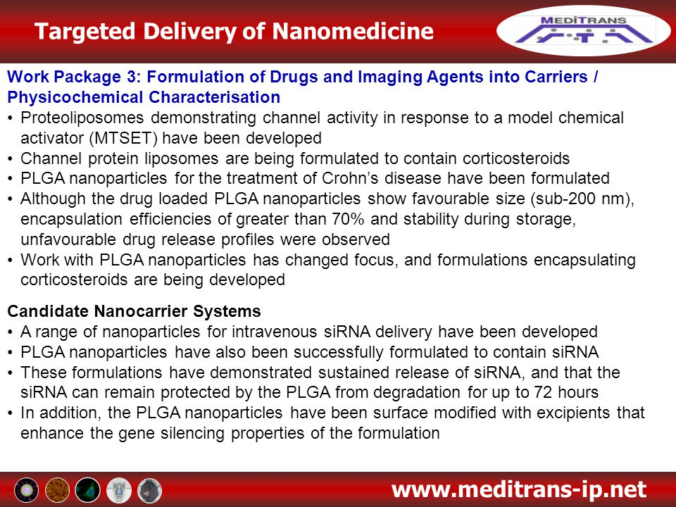 Targeted Delivery of Nanomedicine www.meditrans-ip.net Work Package 3: Formulation of Drugs and Imaging Agents into Carriers / Physicochemical Charact
