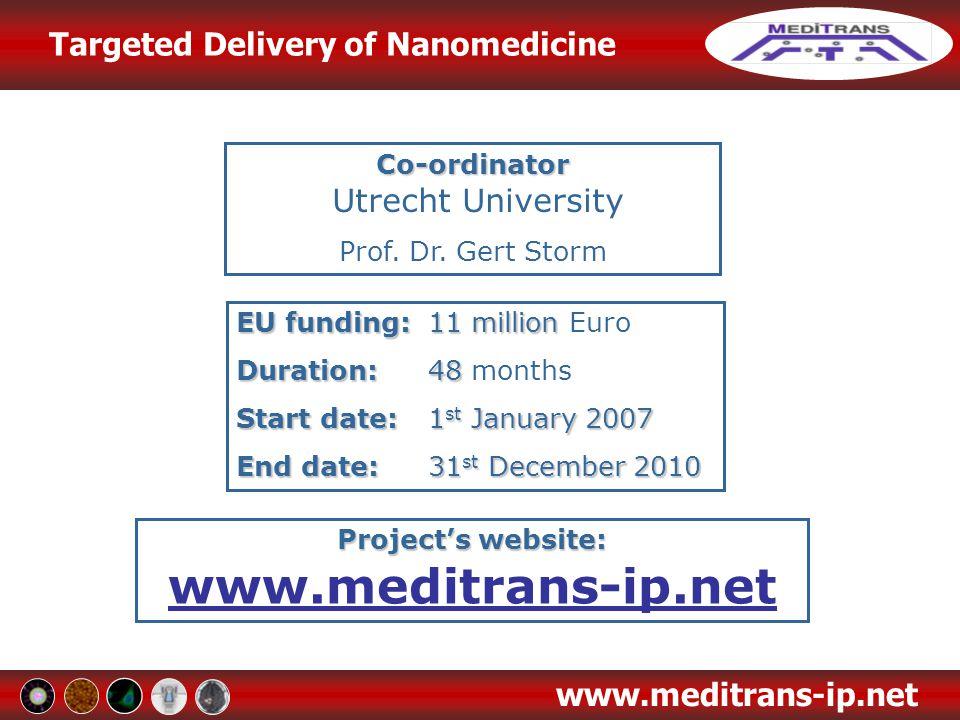 Targeted Delivery of Nanomedicine www.meditrans-ip.net Co-ordinator Co-ordinator Utrecht University Prof. Dr. Gert Storm EU funding:11 million EU fund