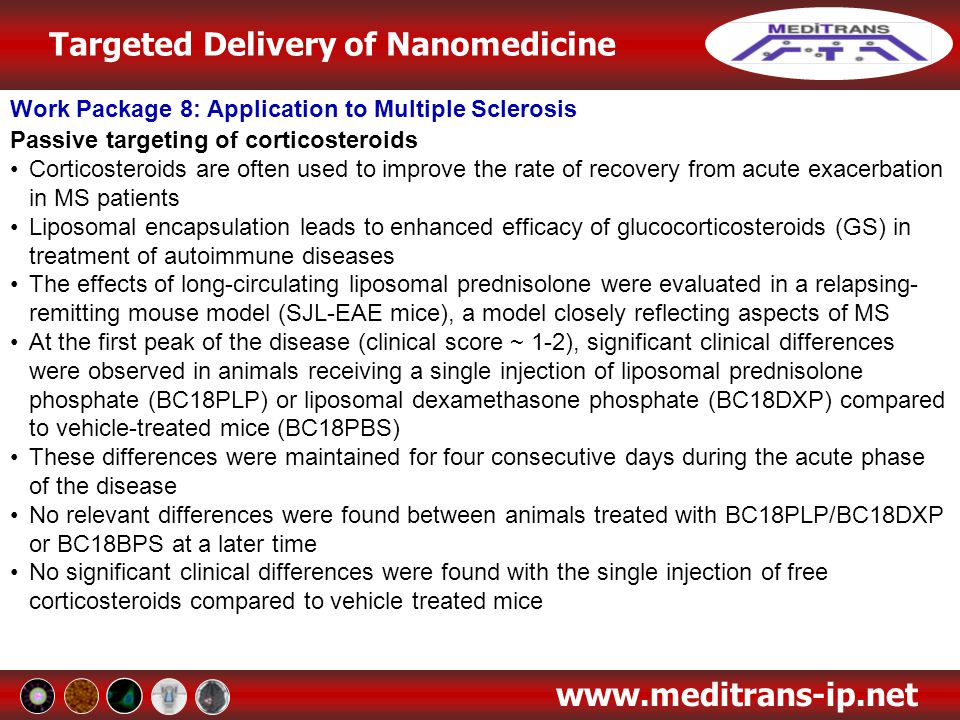 Targeted Delivery of Nanomedicine www.meditrans-ip.net Work Package 8: Application to Multiple Sclerosis Passive targeting of corticosteroids Corticos