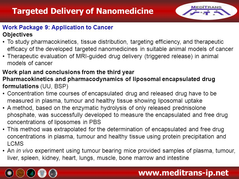 Targeted Delivery of Nanomedicine www.meditrans-ip.net Work Package 9: Application to Cancer Objectives To study pharmacokinetics, tissue distribution