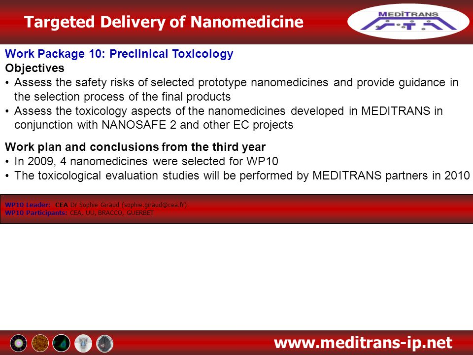 Targeted Delivery of Nanomedicine www.meditrans-ip.net Work Package 10: Preclinical Toxicology Objectives Assess the safety risks of selected prototyp