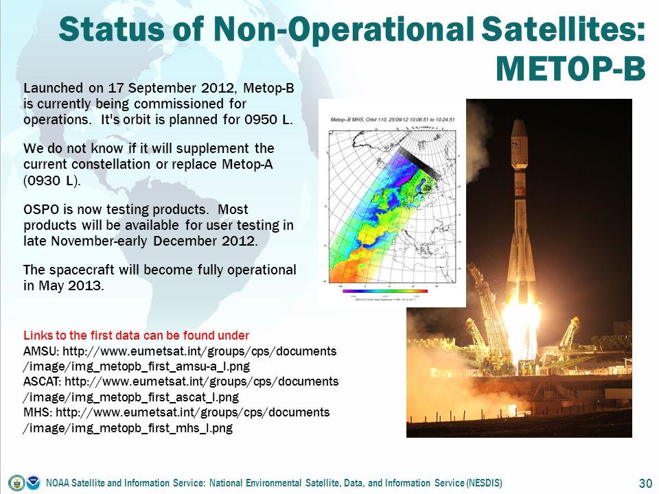 Status of Non-Operational Satellites: METOP-B Launched on 17 September 2012, Metop-B is currently being commissioned for operations.