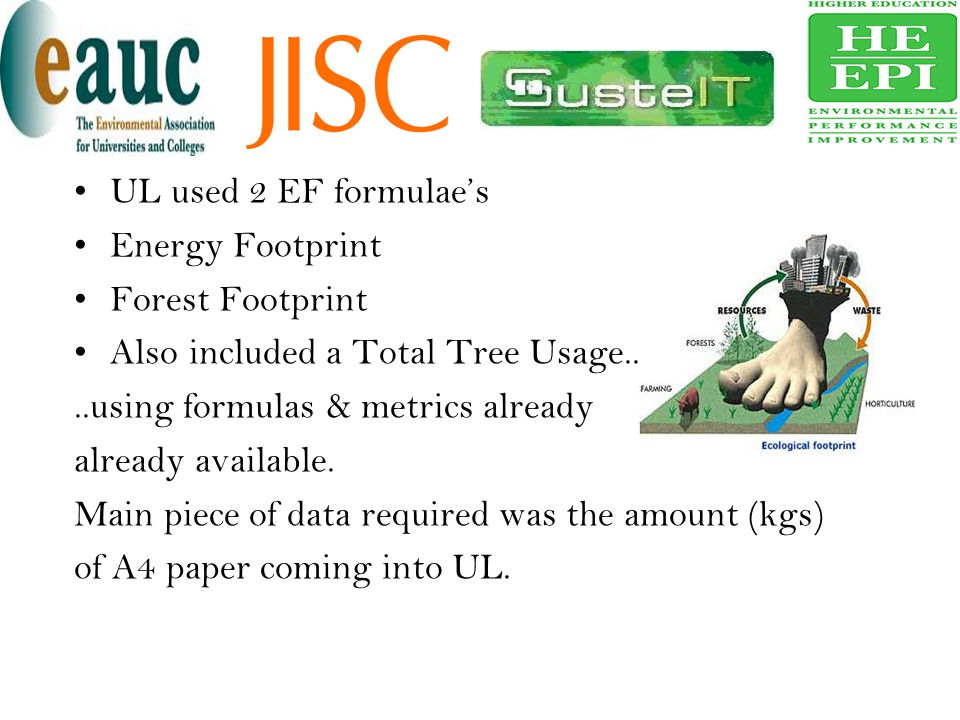 UL used 2 EF formulae's Energy Footprint Forest Footprint Also included a Total Tree Usage....using formulas & metrics already already available. Main
