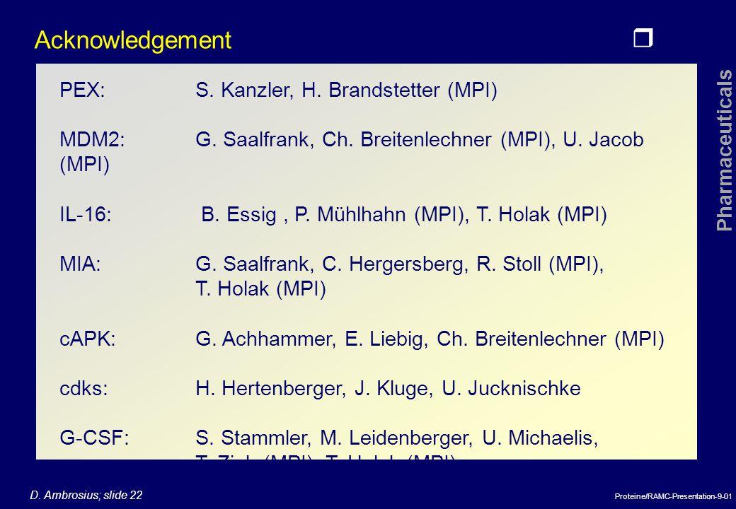 r Pharmaceuticals D.Ambrosius; slide 22 Proteine/RAMC-Presentation-9-01 Acknowledgement PEX:S.
