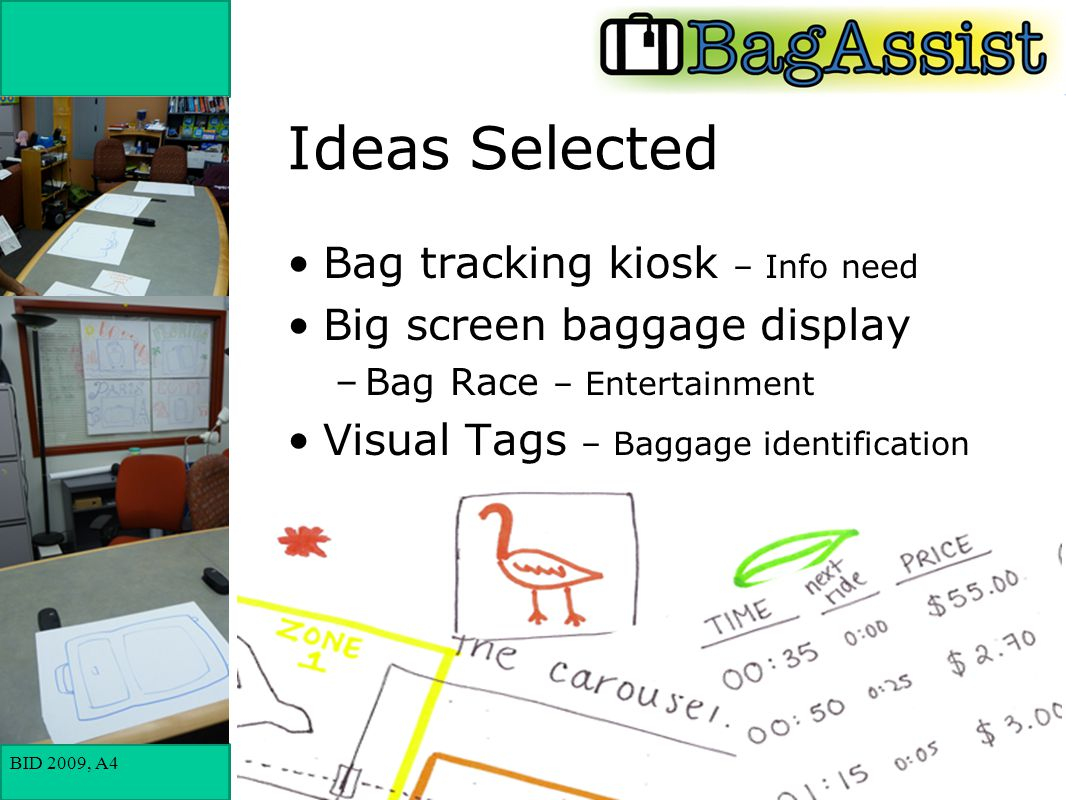 BID 2009, A4 Ideas Selected Bag tracking kiosk – Info need Big screen baggage display –Bag Race – Entertainment Visual Tags – Baggage identification