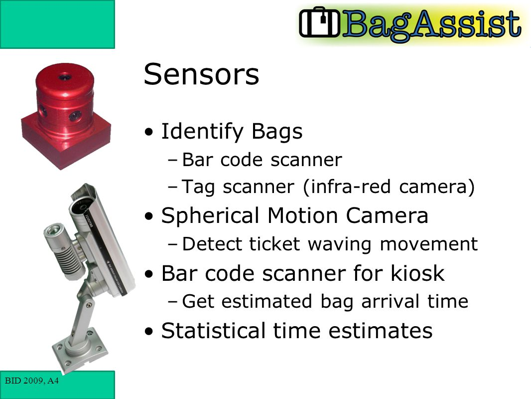 BID 2009, A4 Sensors Identify Bags –Bar code scanner –Tag scanner (infra-red camera) Spherical Motion Camera –Detect ticket waving movement Bar code scanner for kiosk –Get estimated bag arrival time Statistical time estimates