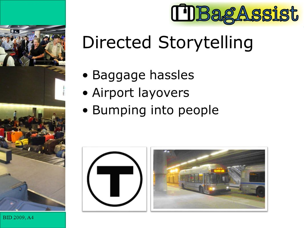 BID 2009, A4 Directed Storytelling Baggage hassles Airport layovers Bumping into people