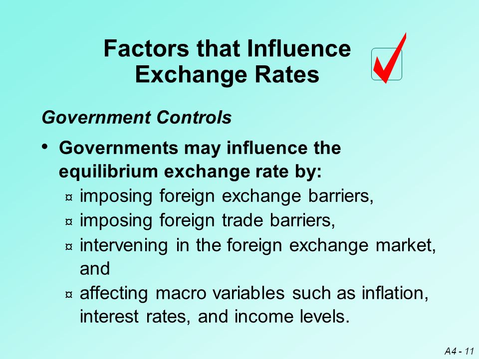 A4 - 11 Government Controls Governments may influence the equilibrium exchange rate by: ¤ imposing foreign exchange barriers, ¤ imposing foreign trade barriers, ¤ intervening in the foreign exchange market, and ¤ affecting macro variables such as inflation, interest rates, and income levels.
