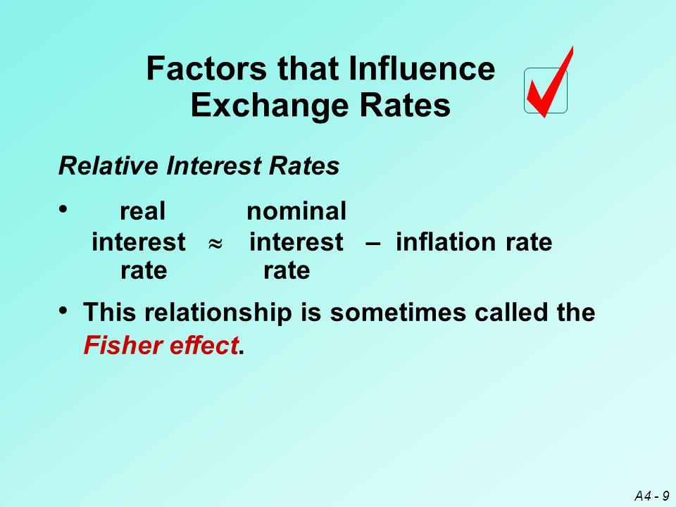 A4 - 9 Relative Interest Rates Factors that Influence Exchange Rates This relationship is sometimes called the Fisher effect.