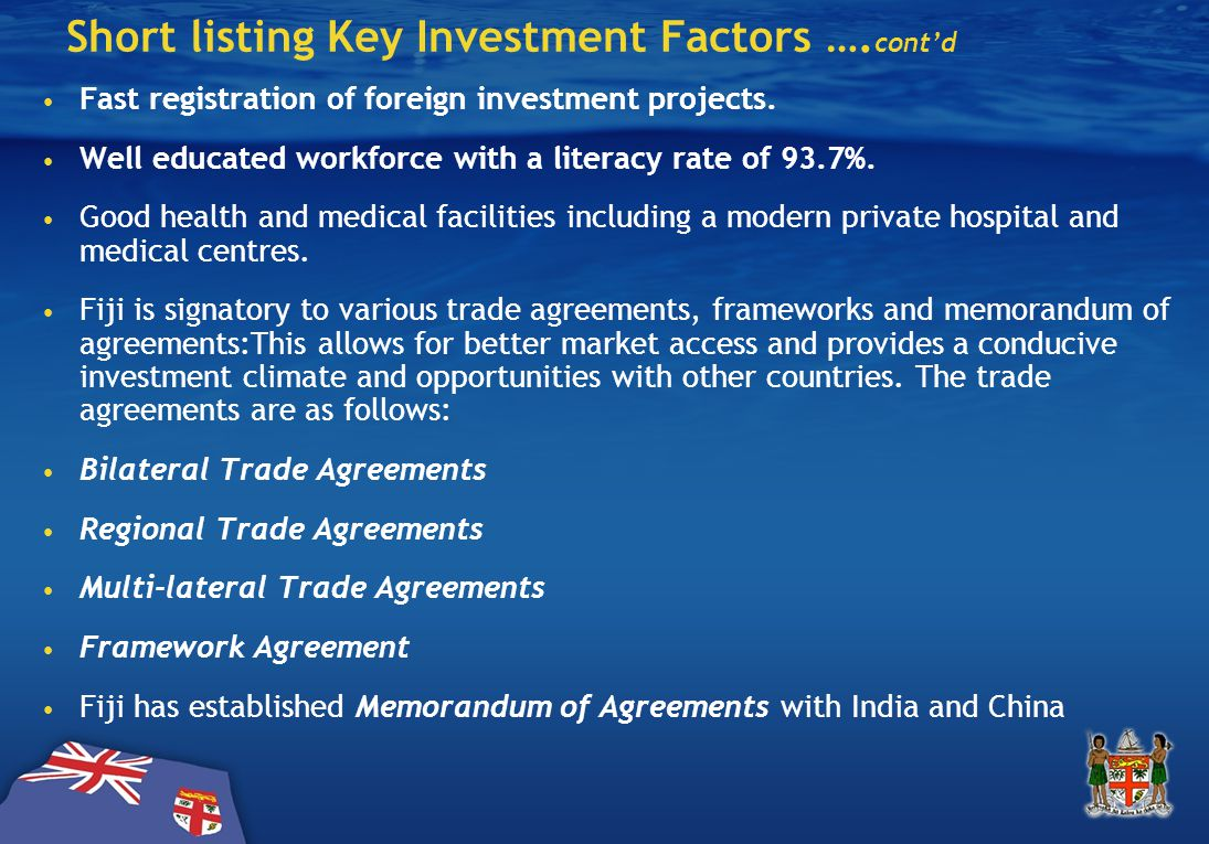 Short listing Key Investment Factors ….cont'd Fast registration of foreign investment projects.