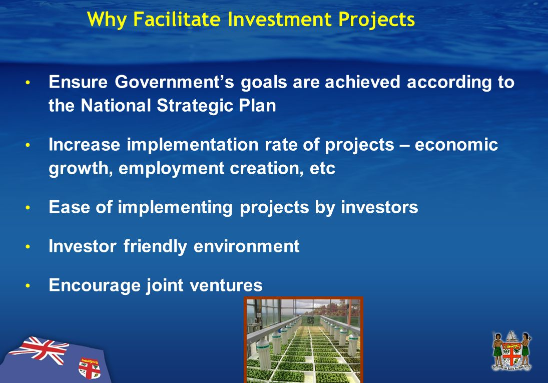 Why Facilitate Investment Projects Ensure Government's goals are achieved according to the National Strategic Plan Increase implementation rate of projects – economic growth, employment creation, etc Ease of implementing projects by investors Investor friendly environment Encourage joint ventures