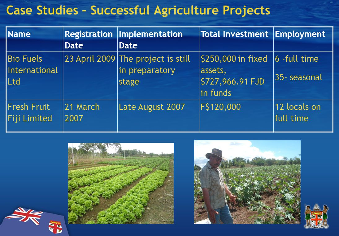 Case Studies – Successful Agriculture Projects Name Registration Date Implementation Date Total InvestmentEmployment Bio Fuels International Ltd 23 April 2009 The project is still in preparatory stage $250,000 in fixed assets, $727,966.91 FJD in funds 6 -full time 35- seasonal Fresh Fruit Fiji Limited 21 March 2007 Late August 2007F$120,00012 locals on full time